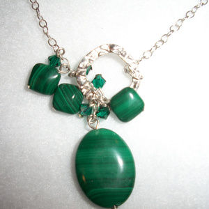Jewelry - Malachite Sterling Silver Toggle Necklace